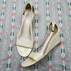 Prada patent leather wedge sandal 37
